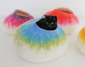 Wool Cat Cocoon, Washable Cat Cave, Pet Bed, Kitty House, Hideaway Furniture Hand Felted Wool - Modern Design - White Ombre Blue Cat Bubble