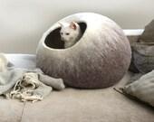 Cat Nap Cocoon Pet Cave Kitty Bed Dog House Felt Vessel - Hand Felted Wool - Crisp Modern Design - Beige Ombre Cat Bubble