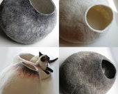 ASK for Custom felted Cat Bed OOAK Hand Felted Wool Cat Bed Vessel Furniture Cat Nap Cocoon Crisp Contemporary Design One of the Kind