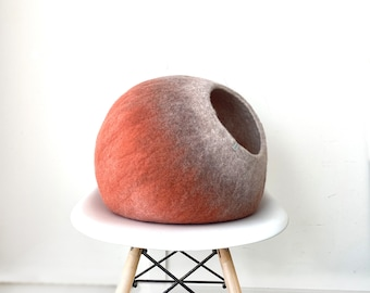 Cat Bed / Cat Cocoon / Cat Cave House / Felt Pet Furniture, Hand Felted Wool -  Spiced Coral Bubble - Crisp Modern Minimal Design