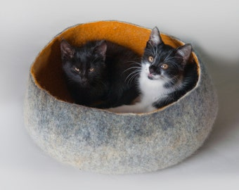 Pet Pod / Pet Bed / Dog Bed / Cat Bed / Cat Cave / Pet House / Vessel Bowl - Hand Felted Wool - Crisp Contemporary Modern Design