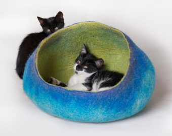 Pet / Dog / Cat Bed / Cave / House / Vessel / Furniture - Hand Felted Wool - Bright Turquoise Green  - Crisp Contemporary Modern Design