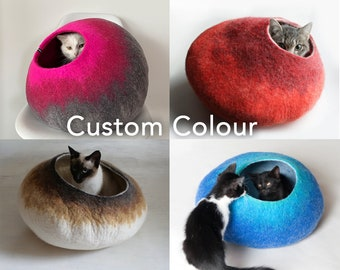 Custom Made / Cat Nap Cocoon / Cave / Bed / House / Vessel / Furniture - Hand Felted Wool - Crisp Contemporary Design
