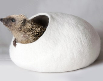 White Cat Bed, Hedgehog Bed, Cave, House, Vessel, Furniture, Cocoon - Hand Felted Wool - White Stone - Modern Crisp Contemporary Design