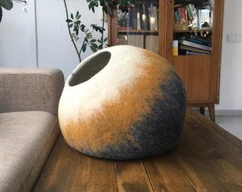 Cat Wool Cocoon / Cat Cave Bed / House / Pet Furniture - Hand Felted Wool - Crisp Modern Felt Design - White Mustard Grey Cat Bubble