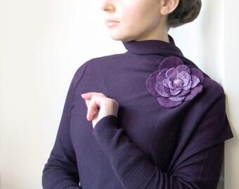 Purple Rose  -- Felt Flower Brooch -- Hand felted wool -- size Large/Medium
