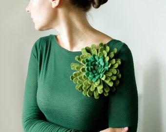 Green Dahlia -- Felt Flower Brooch -- Hand felted wool -- Size X Large