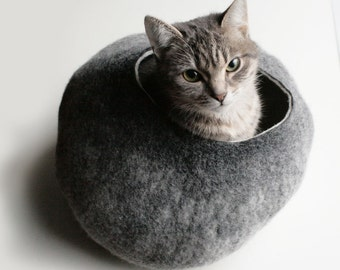 Grey Stone Hideaway Cat Nap Cocoon / Cave / Bed / House / Vessel / Furniture - Hand Felted Wool - Crisp Contemporary Design - READY TO SHIP