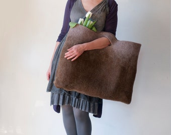 Large Oversized Rusty Tan Sturdy Everyday Art Bag, Carryall Tote Basket for Shopping, Market, Picnic. Hand felted wool / Wearable Art