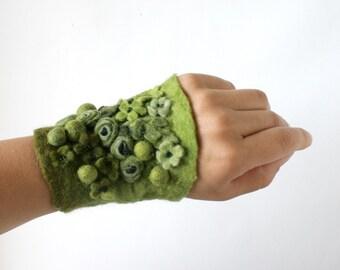 Sap Green Meadow -- Felt Bangle / Wrist Cuff -- Hand felted wool -- Wearable Art