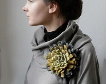 Gray Gold Dahlia -- Felt Flower Brooch -- Hand felted wool -- size X Large