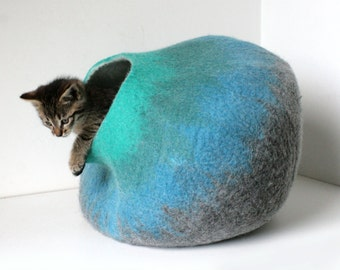 Wool Cat Cave, Washable Cat Bed, House, Furniture, Vessel - Hand Felted - Gray to Turquoise Bubble - Authentic Minimalistic Modern Design