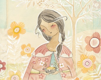 portrait of woman in the garden holding a nest countryside  mixed media watercolor archival and limited edition print by cori dantini