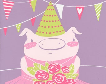 pink pig in a tutu, Happy Birthday greeting card, piggy and flowers, hand pulled silk screened card