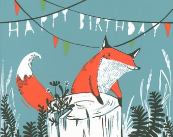Fox Happy Birthday greeting card, fox and flowers, hand pulled silk screened card