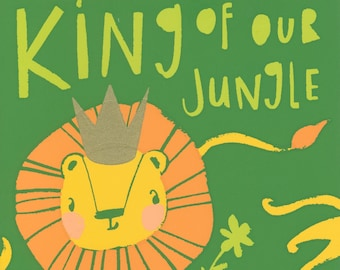 Father's Day Greeting Card, Lion and cubs, King of our jungle, love, hand pulled silk screened note card by Cori Dantini