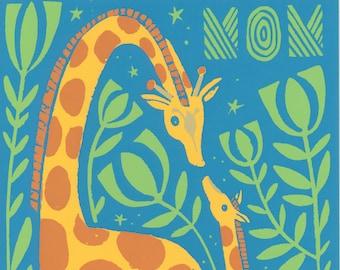 Mother's Day Greeting Card, giraffe, giraffe's, love, hand pulled silk screened note card by Cori Dantini