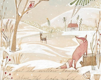 Whimsical winter fox in the forest - holiday - Archival Art Print-watercolor- woodland - winter - wall decor - Nursery - Baby Room -