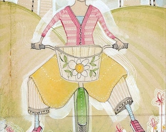 Cori Dantini watercolor painting of a girl riding her bike - 5 x 10 - archival and limited edition print by corid