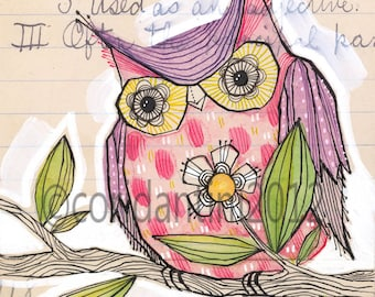 purple owl - watercolor painting - 8 x 8 print - archival, limited edition print by cori dantini