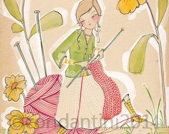 Cori Dantini, The Makers, watercolor - illustration of a knitter -  limited edition - 8 x 10 print by cori dantini