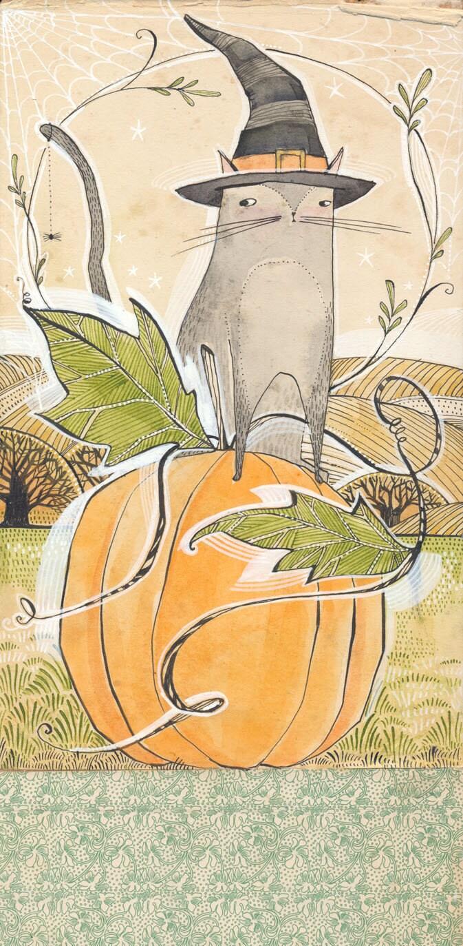 Original Watercolor of a black cat sitting on a pumpkin | Etsy