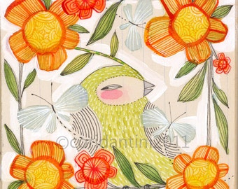 Fine Companions - bird and butterfly art - 8 x 8 archival limited edition print by cori dantini