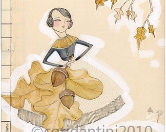 Woman with Autumn, fall, leaves, acorn, 8 x 8 limited edition  archival print,  by cori dantini