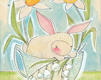 Easter Spring Bunny Art Print 8 x 10 watercolor illustration Animal Themed Nursery Baby Room Seasonal Decorating Ideas, Cori Dantini