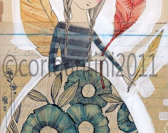 woman with feather - watercolor painting - inspirational - art print - archival and limited edition print by cori dantini