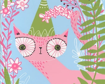 cat, kitty cat,  Happy Birthday greeting card, pink cat and flowers, hand pulled silk screened card