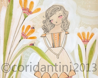 watercolor painting of a girl with lady bugs -  archival limited edition print  measuring 8x10 by cori dantini