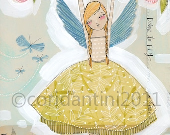 Angel Art print - fairy art print - BE BRAVE - mixed media watercolor painting, 8 x 10 - archival and limited edition print by cori dantini