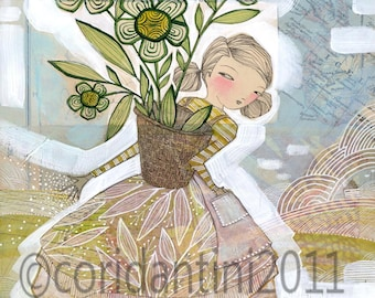 inspirational painting of a gardener - 8 x 10 - a limited edition archival print by cori dantini