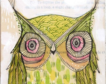 go lightly...6/100...an archival owl print 5 x 10 inches by cori dantini