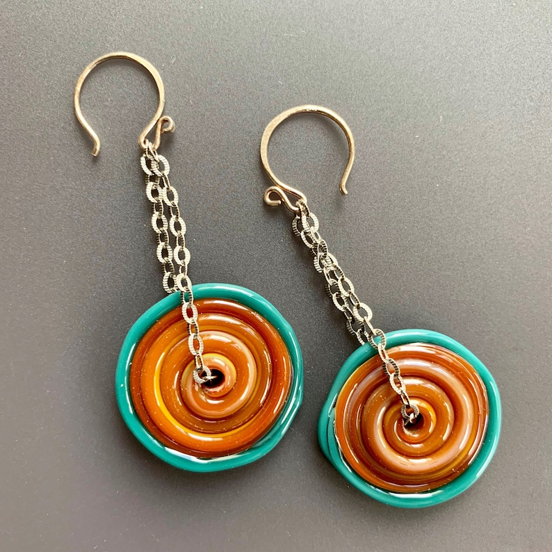 Colorful Caramel and Aqua Glass Disc Drop Earrings on Etched image 0