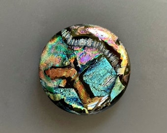 Large Colorful Dichroic Glass Cabochon Focal 35mm OOAK Statement Cab