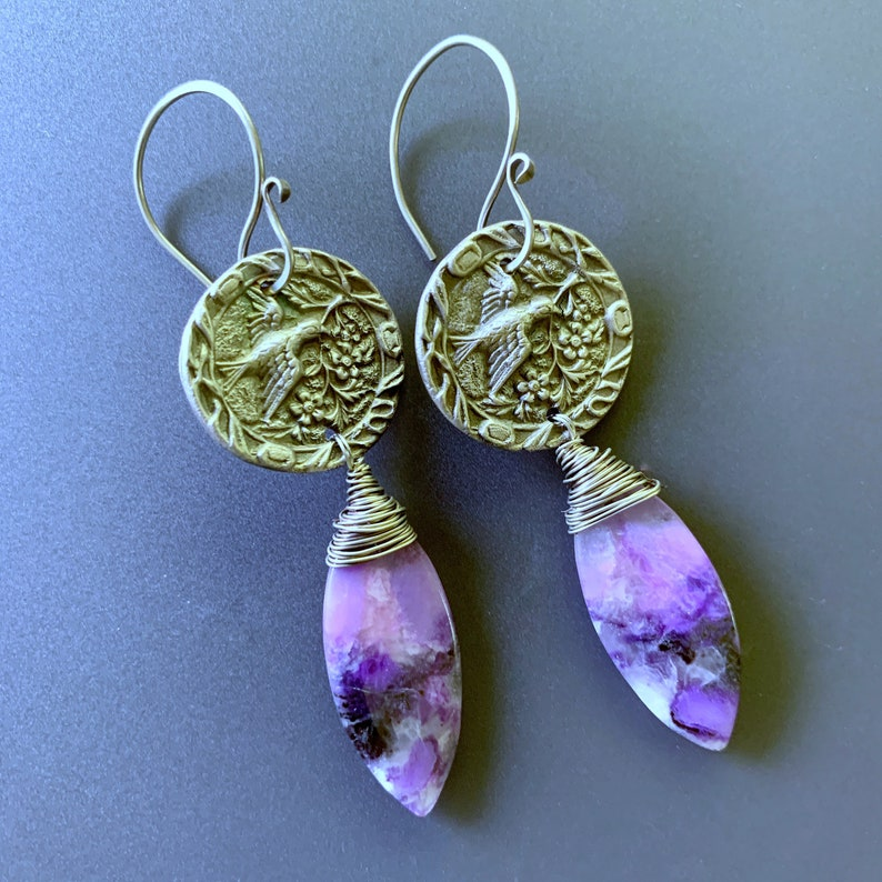 Beautiful Dangle Earrings Bird Carrying Branch with Sugilite image 0