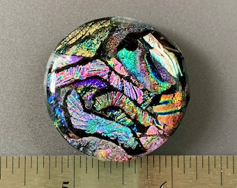 Large Colorful Dichroic Glass Cabochon Focal 36mm OOAK Statement Cab