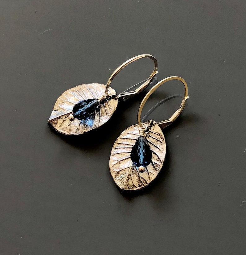 Sterling and Fine Silver Leaf Earrings with Faceted Blue image 0