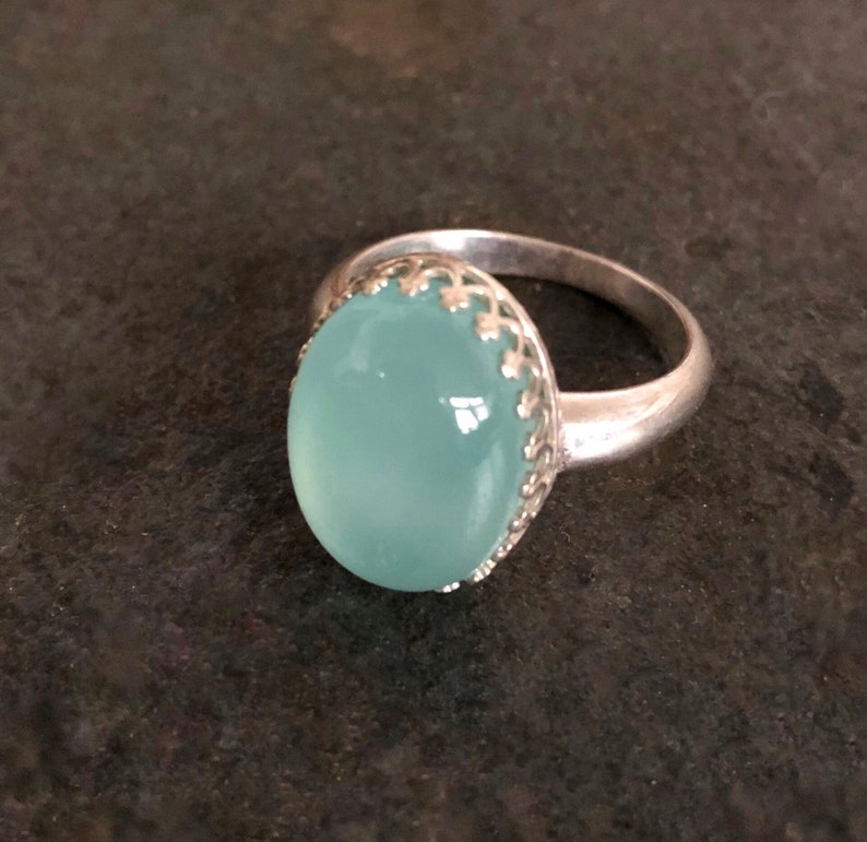 Sterling Silver Ring with Gorgeous Caribbean Blue Chalcedony image 0