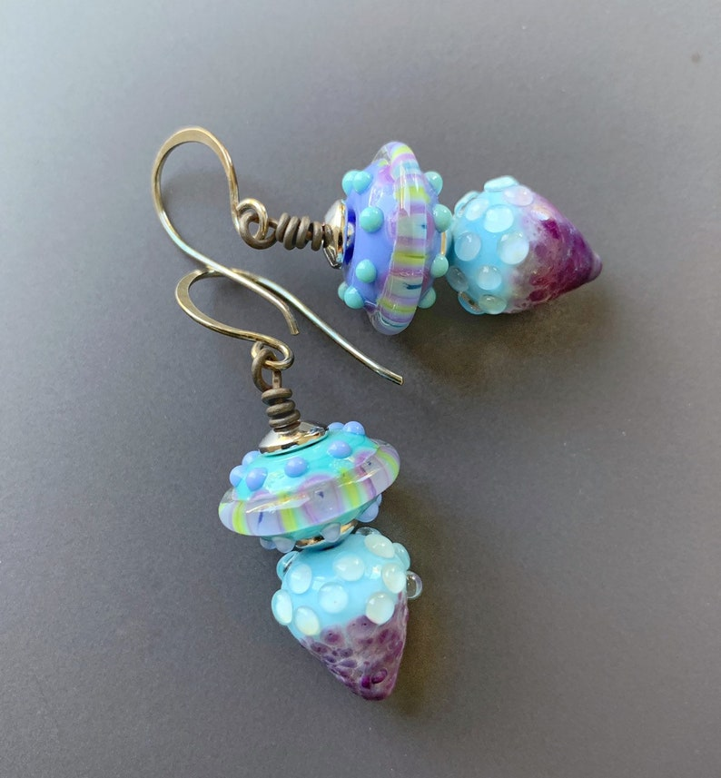 Luminous Lavender Aqua and Purple Lampworked Glass and image 0