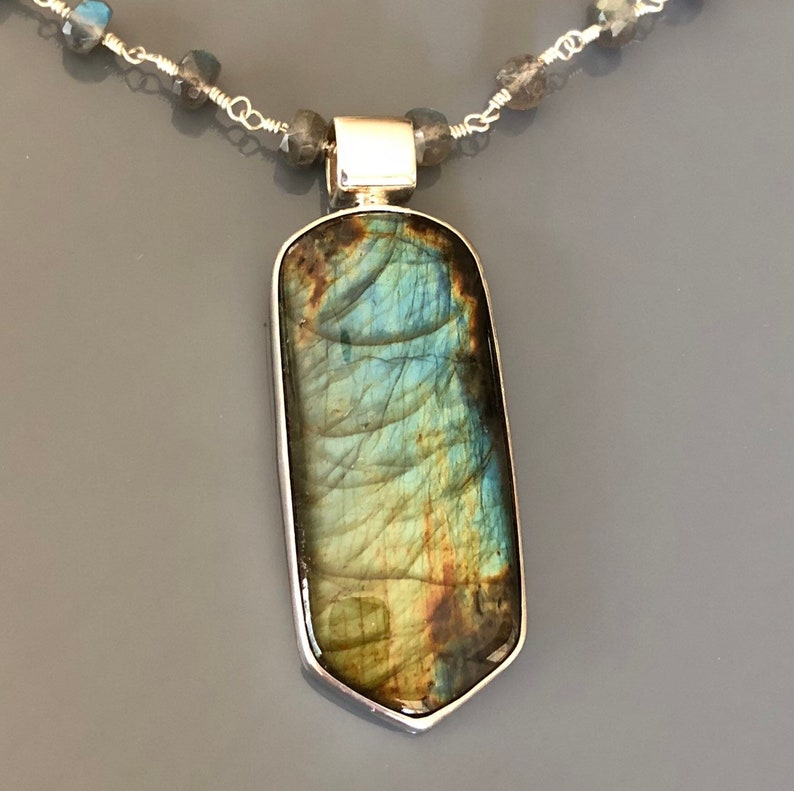Beautiful Sterling Silver and Freeform Labradorite Pendant on image 0