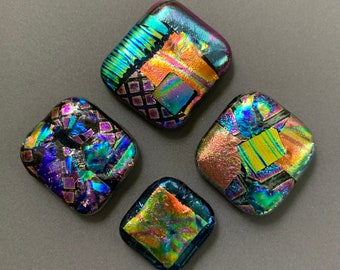 Lot of 4 Square and Rectangular Fused Dichroic Glass Cabochons