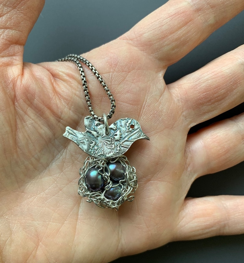 Fine and Sterling Silver Mama Bird and Wire Nest with Three image 0