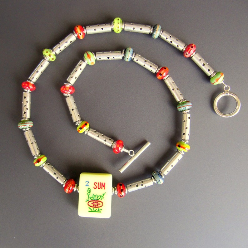 Mah Jongg Necklace OOAK with Sterling Silver Tube Beads image 0