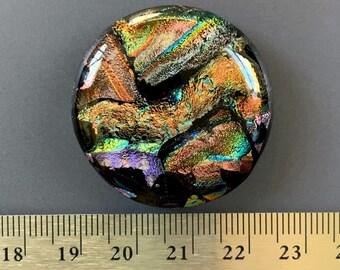 Large Colorful Dichroic Glass Cabochon Focal 35mm OOAK Statement Cab Autumn Colors