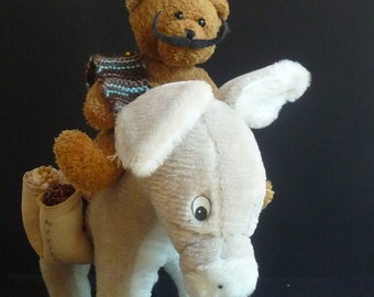 RESERVED for DENIS LUCEY  Vintage Mexican Burro with Second Chance Teddy Bear, Taquito and Burrito