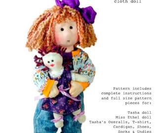 Cloth doll pattern - 14 inch cloth rag doll sewing - Tasha PDF pattern