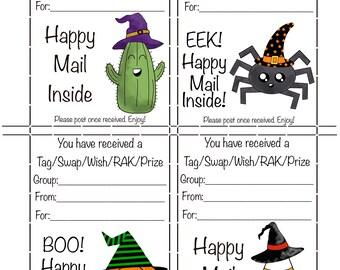 Happy Mail Swap Insert- Halloween Tag/Swap/Wish/RAK/Prize  Digital Download